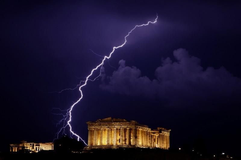CORRECTION Greece Acropolis Lightning