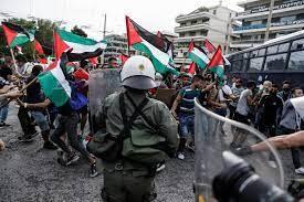 'Ενταση έξω από την πρεσβεία του Ισραήλ - Συγκέντρωση συμπαράστασης στην Παλαιστίνη