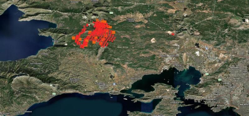 Φωτιά στα Βίλια: Σε εξέλιξη το πύρινο μέτωπο