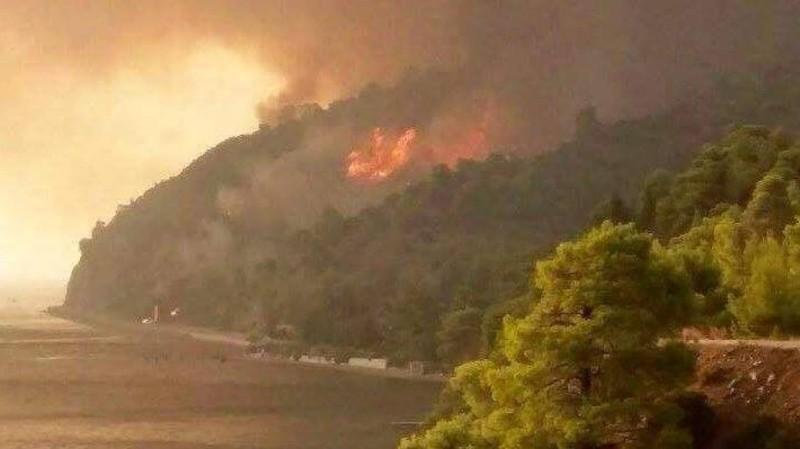 Επικίνδυνη φωτιά στη Λίμνη της Ευβοίας