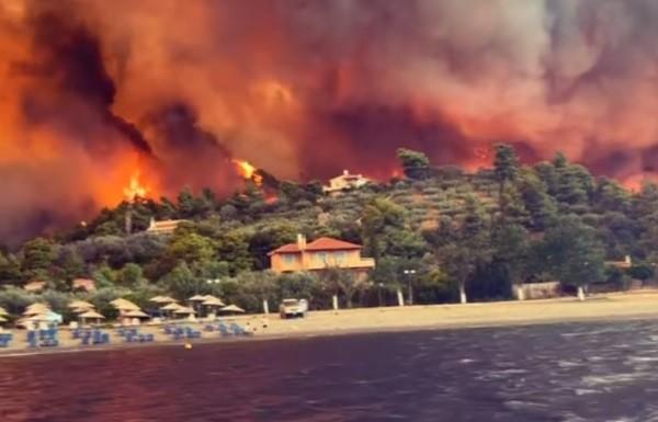 Δύσκολες ώρες στην Εύβοια λόγω της πυρκαγιάς