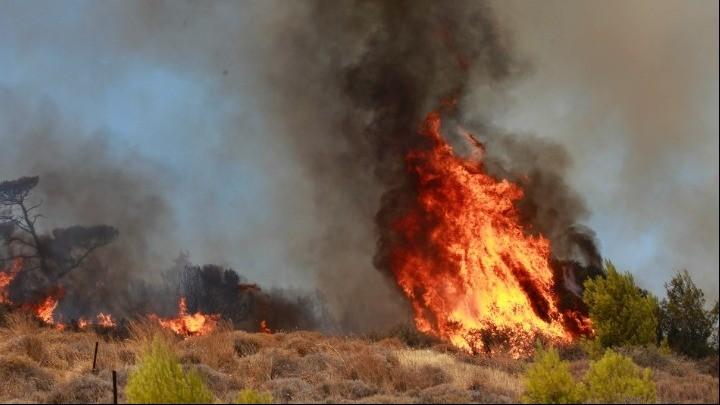 Σε εξέλιξη η πυρκαγιά στην Κερατέα